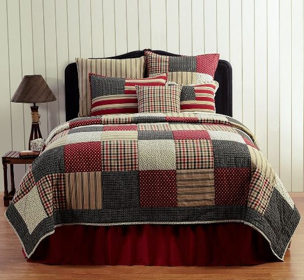 CUMBERLAND Twin Bed Skirt Red//Black Plaid Rustic Primitive Cabin Lodge Country