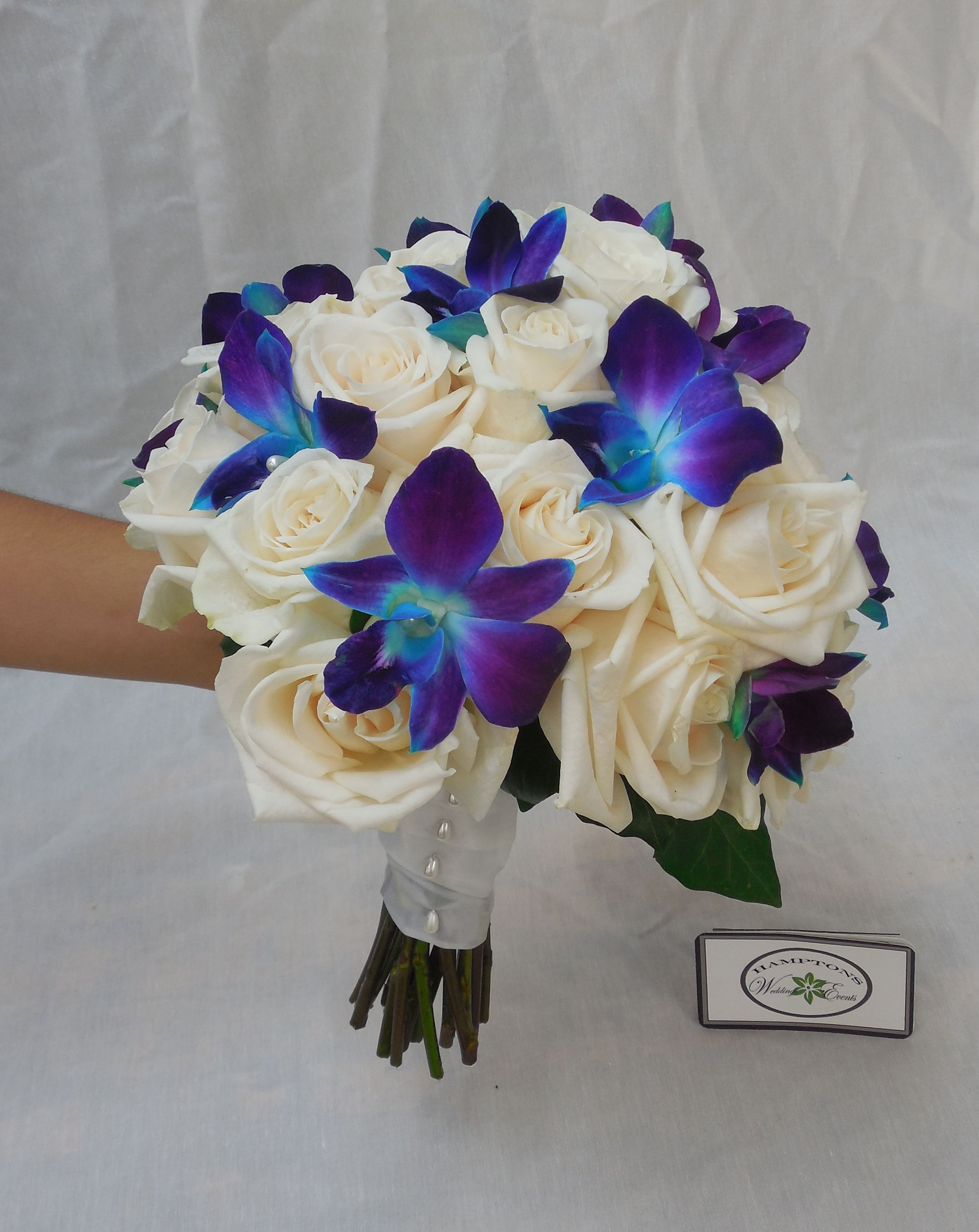 wedding bouquets blue blue orchids and white roses bridal bouquet wedding 8494