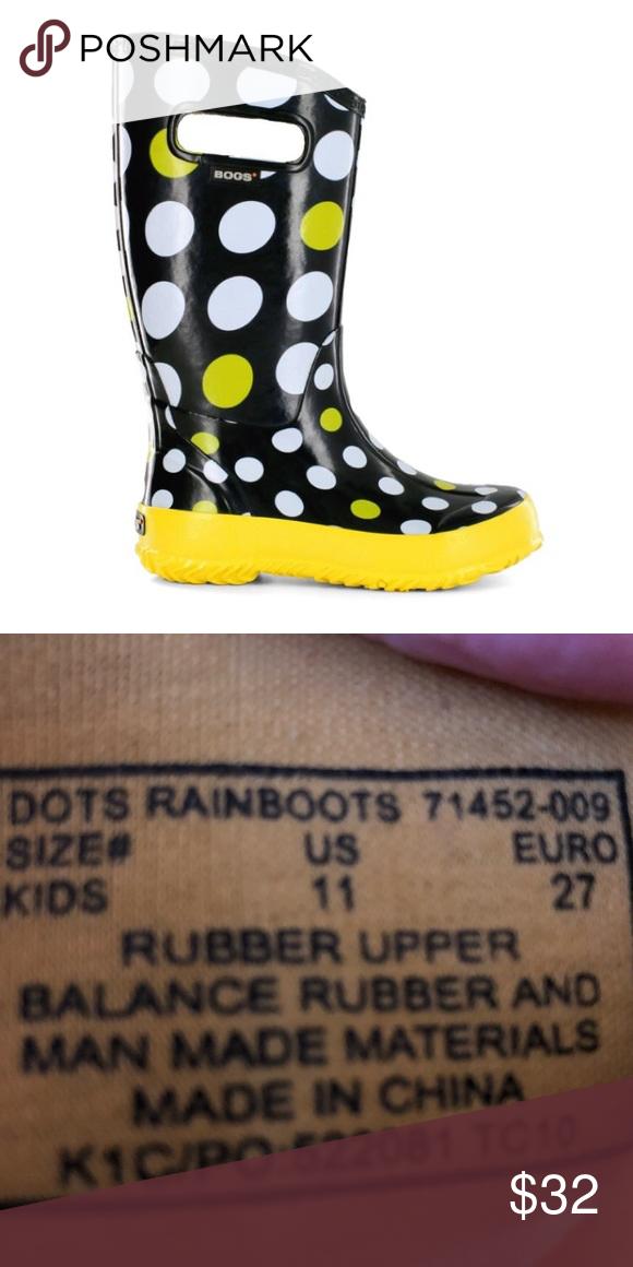 🆕List! Bogs Polka-Dot Rain Boots! EUC! Super cute kids polka-dot