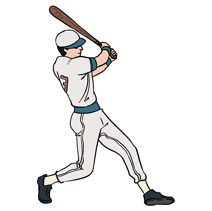 How To Draw A Baseball Player Baseball Players Drawing Tutorial