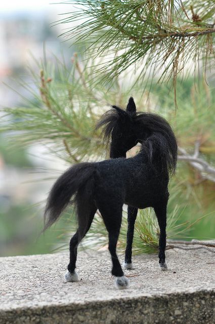 Needle Felted Wool Animals-Black horse-Waldorf inspired soft sculpture #feltedwoolanimals