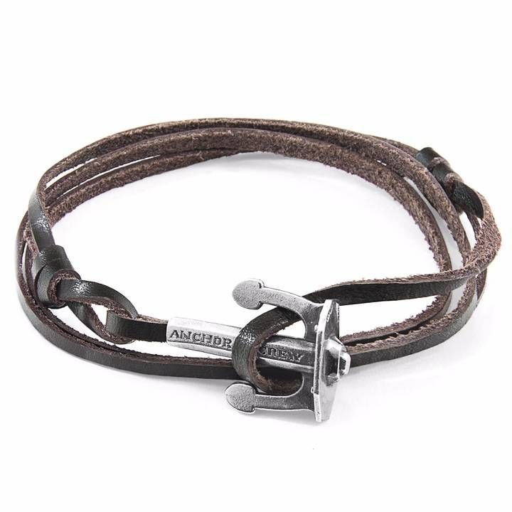 Anchor & Crew Dark Brown Clipper Silver And Leather Bracelet OkftAOZr
