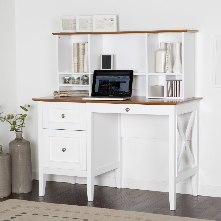 White Wooden Study Yable Using Brown Wooden Top And Drawers Integrated With Book Shelves As Well As E White Desk With Drawers White Desk Office White Wood Desk