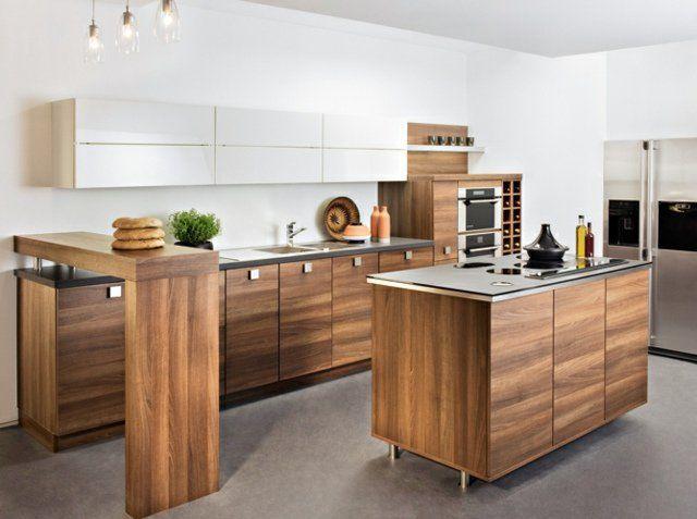 Îlot central de cuisine en 30 idées originales Bar - Plan De Cuisine Moderne Avec Ilot Central