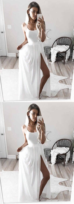 Simple white long prom dresswhite evening dress m wear