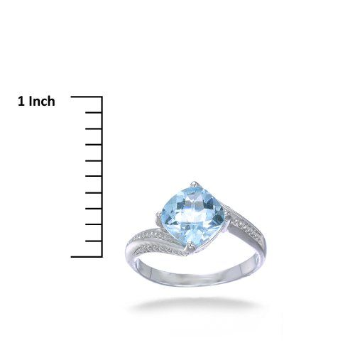 10MM Cushion Cut Natural Blue Topaz Ring In Sterling Silver 2.50 CT (Available In Sizes 5 - 9)