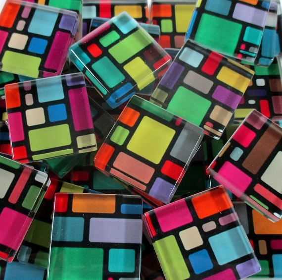 Glass Mosaic Tiles Bright Colors Black Blocks Squares Mixed