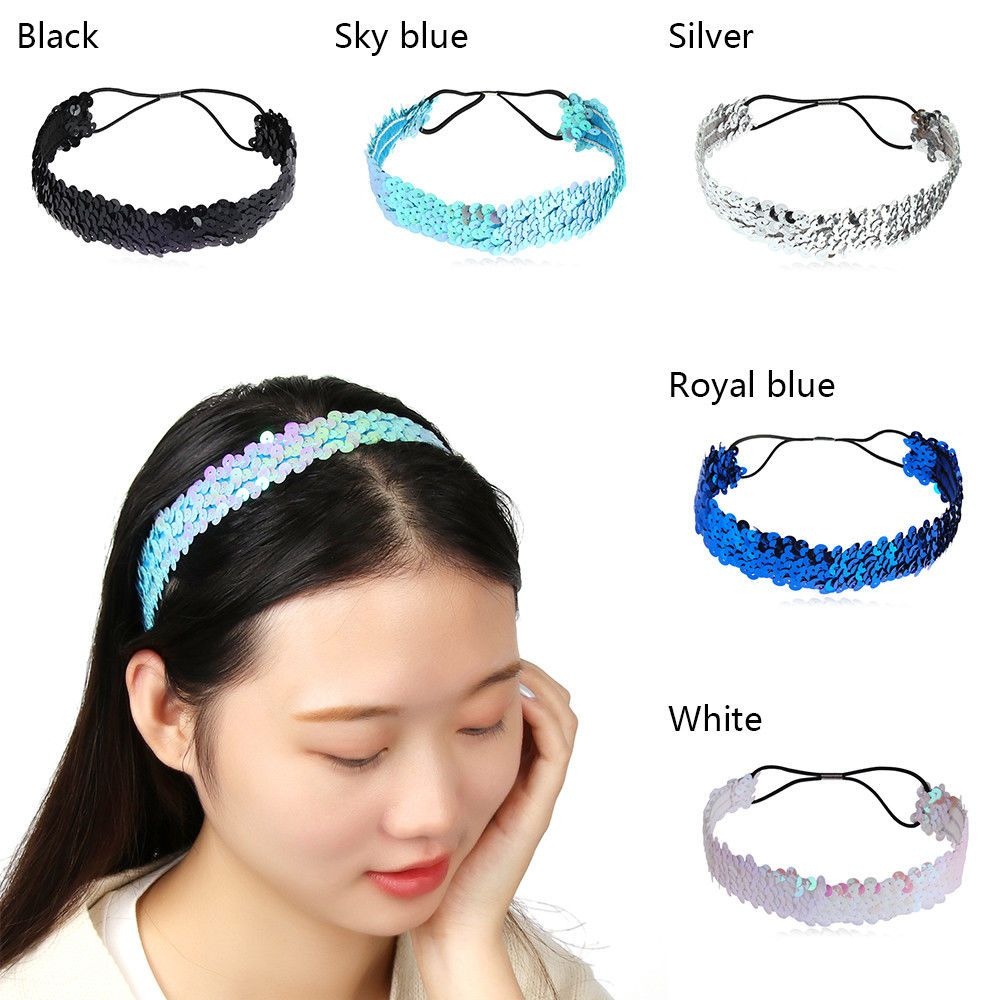 GIRLS WIDE SEQUIN COVERED BOHO STRETCH KYLIE HEADBAND HAIR BAND ACCESSORIES NEW