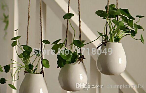 Egg Shape White Ceramic Hanging Pots Indoor Plant Holder For
