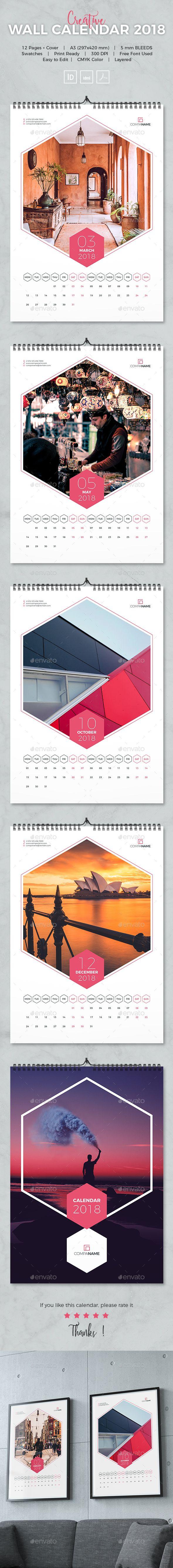Calendario Indesign.Creative Wall Calendar 2018 A3 Template Indesign Indd
