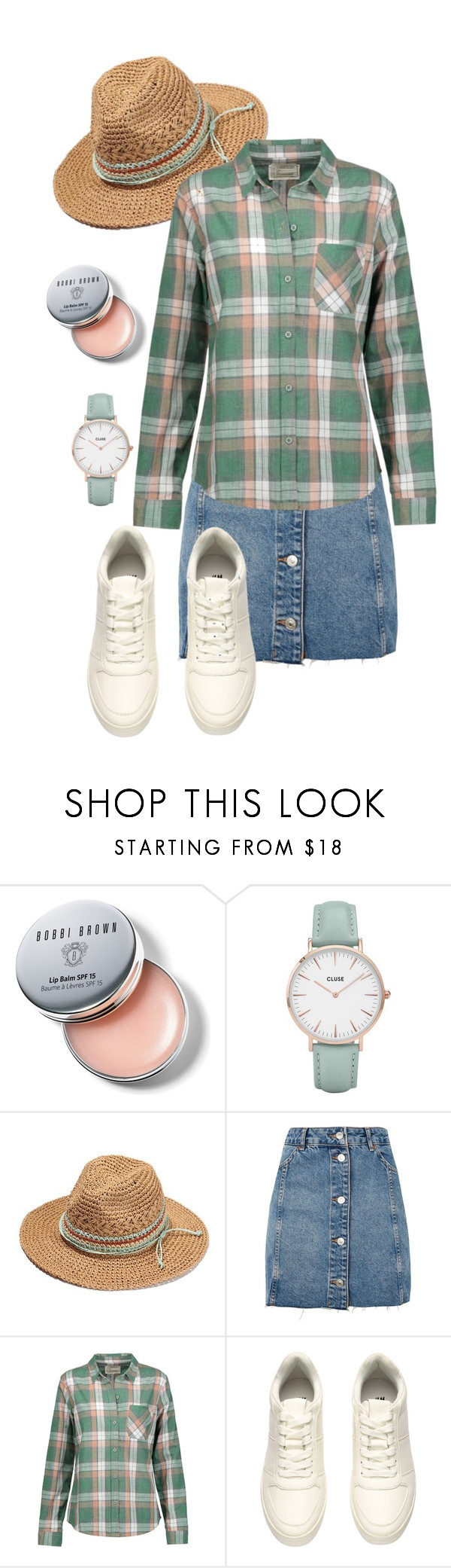 """""""backyard babe"""" by deliag ❤ liked on Polyvore featuring Bobbi Brown Cosmetics, CLUSE, Topshop, Current/Elliott and H&M"""