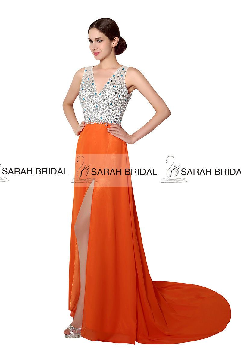 Orange vneck highslit backless long prom dress formal dress ball