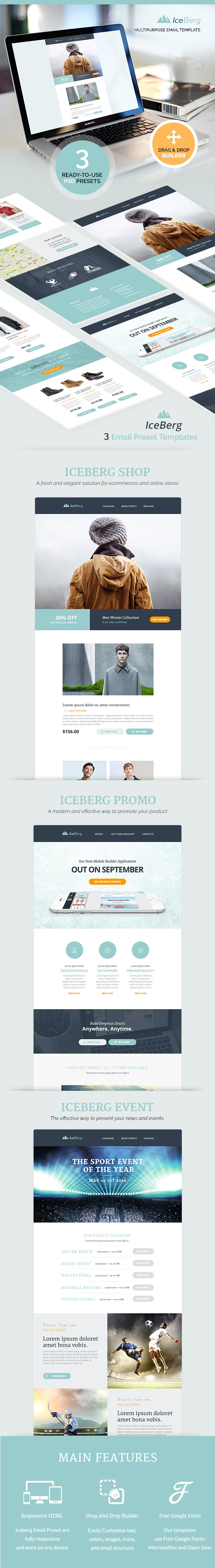Iceberg Responsive Email Templates Builder Marketing - Buy email templates