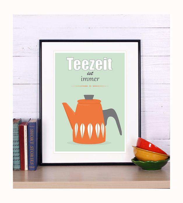 Cathrineholm Tee Kessel Poster Druck, für Küche A3 | Diy design ...