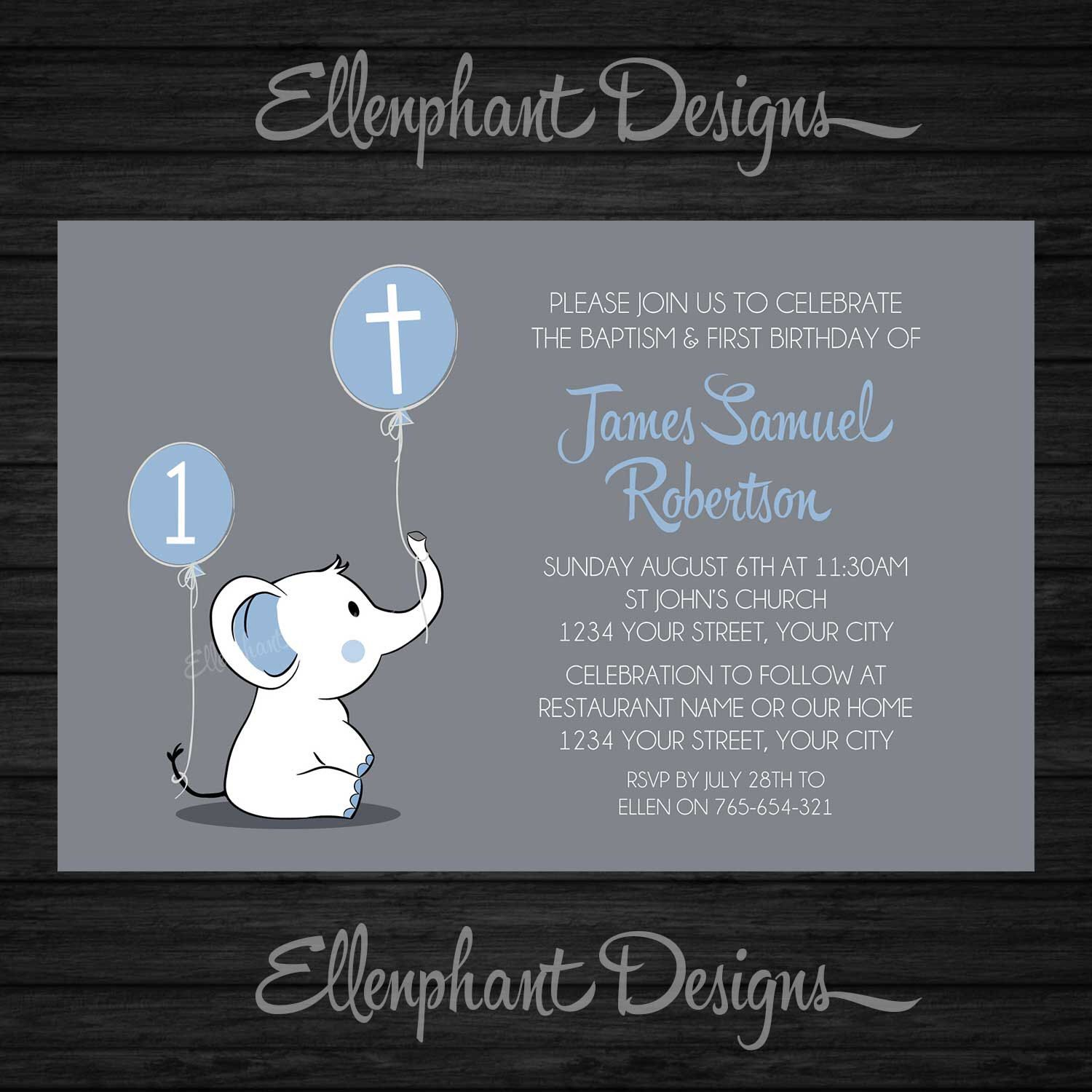 Baptism and First Birthday invitation, 1st, joint, christening ...
