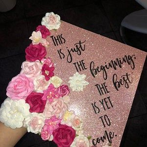 Graduation Cap Topper -Behind You All Your Memories Flowers Glitter customize colors saying Graduation Cap Topper