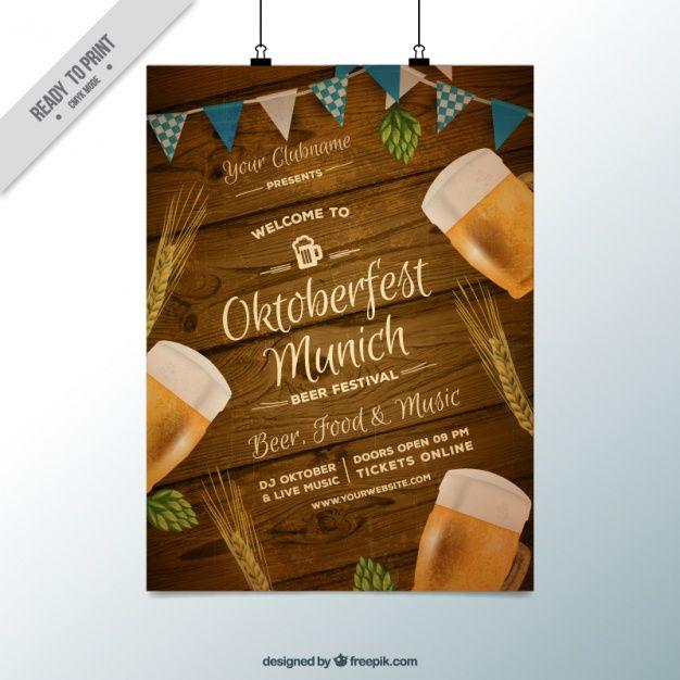 Fantástico póster con fondo de madera para el oktoberfest Vector