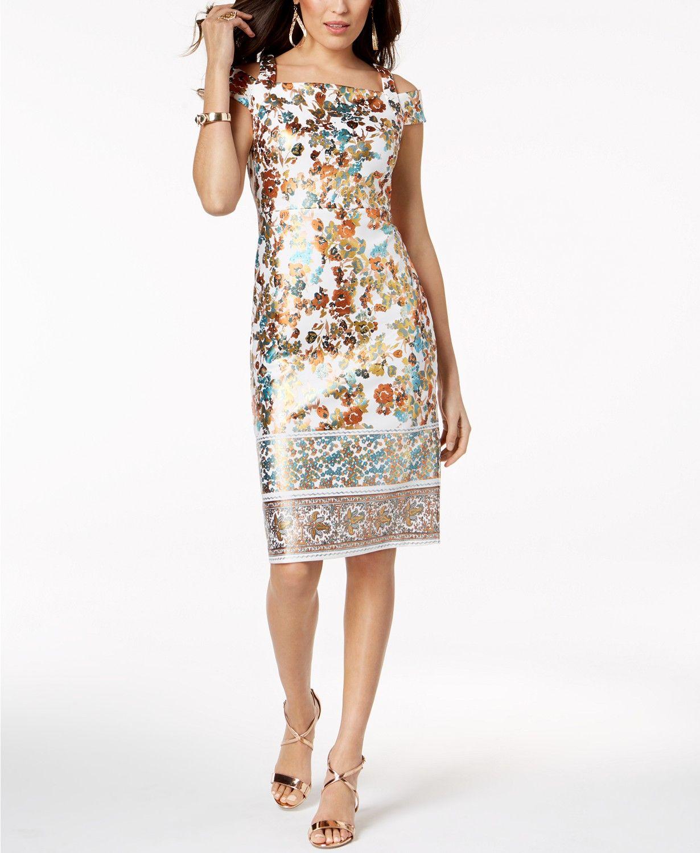 746da002f94 Thalia Sodi Metallic-Print Sheath Dress
