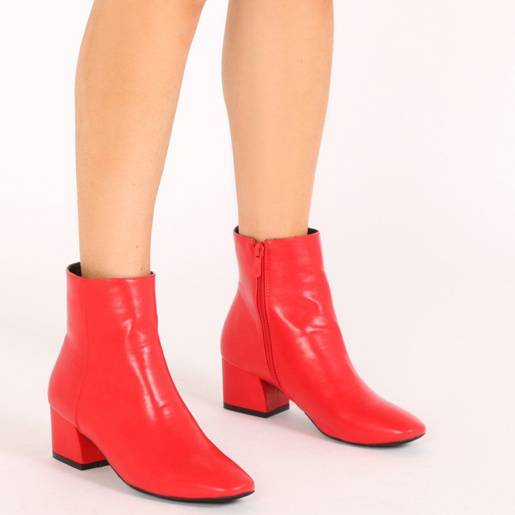 5f848e5857eab Sierra Flare Heel Ankle Boots in Red   Shoes OMG   Boots, Ankle, Shoes