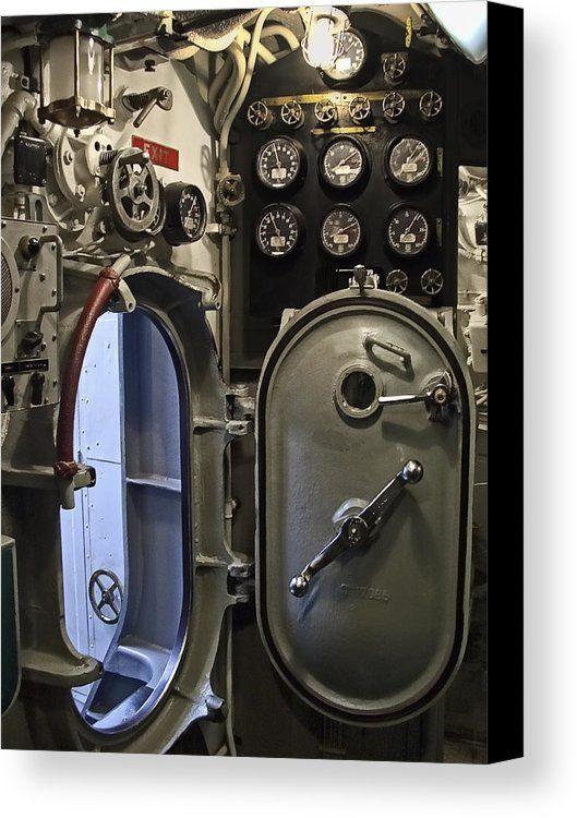 Aircraft Carrier Engine Room: Sub Canvas Print Featuring The Photograph World War 2 Era