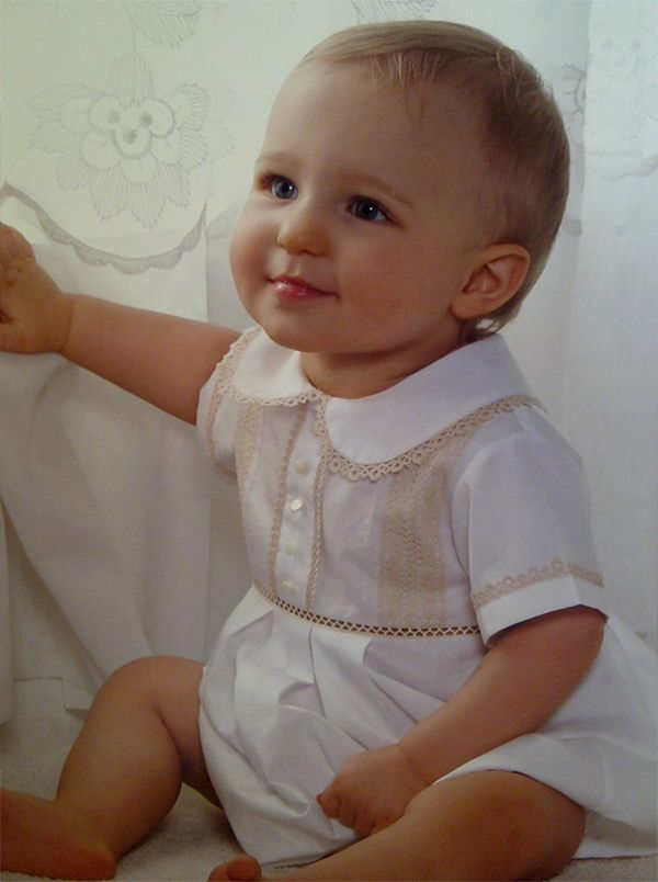 love this beautiful baby boy bubble suit  enough detail to be heirloom but not so frilly for a