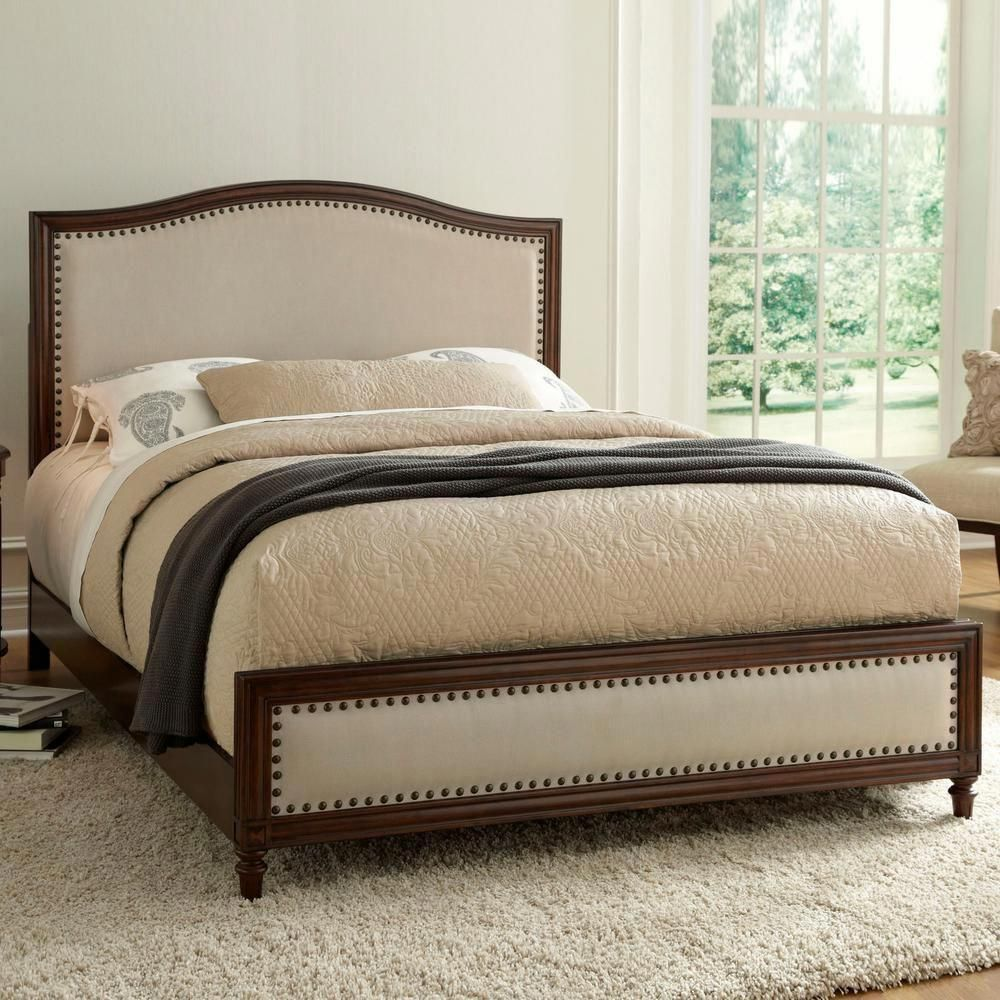 Fashion Bed Group Grandover California King Size Platform Bed With Detailed Wooden Frame And Cream Upholstery In Espresso B71637 The Home Depot Bed Styling Upholstered Panel Bed Panel Bed