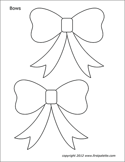 Bows Free Printable Templates Coloring Pages Firstpalette Com Christmas Applique Patterns Christmas Ornament Template Templates Printable Free