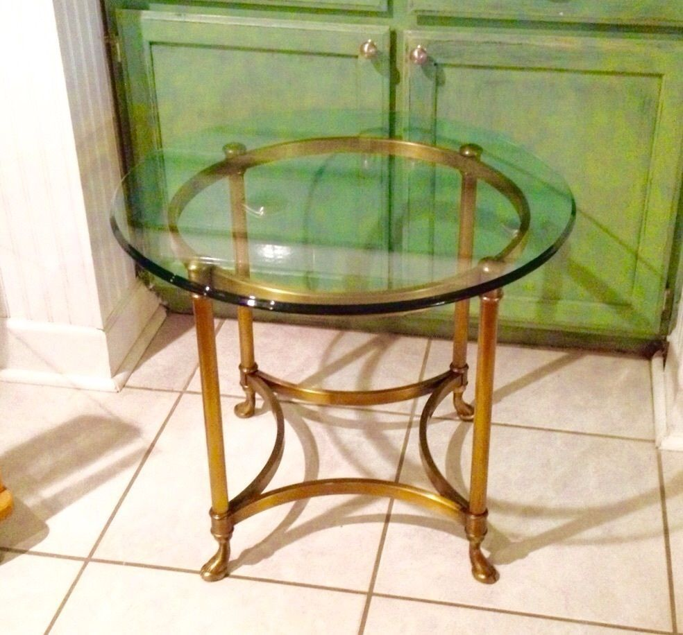 Labarge Brass And Glass End Table Hollywood Regency Ram Hoof
