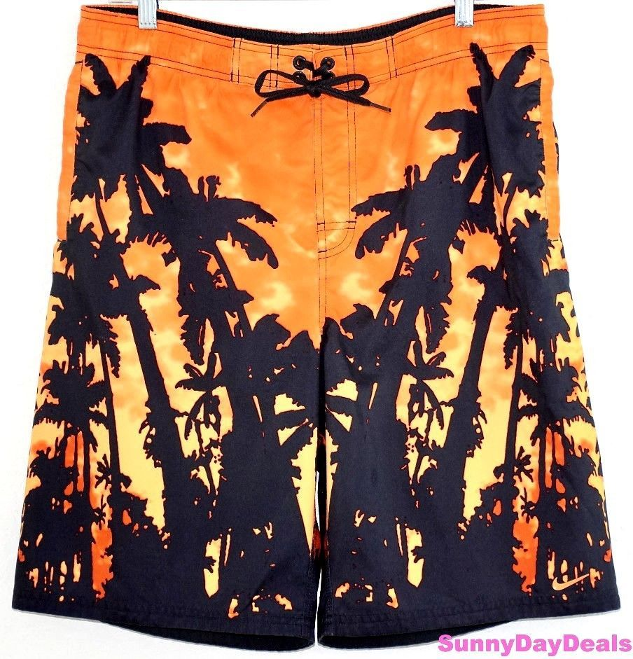 f8f42c3275 Nike Mens Swim Trunks Board Shorts Orange Black Tropical Palm Trees  Swimsuit M #Nike #BoardShorts