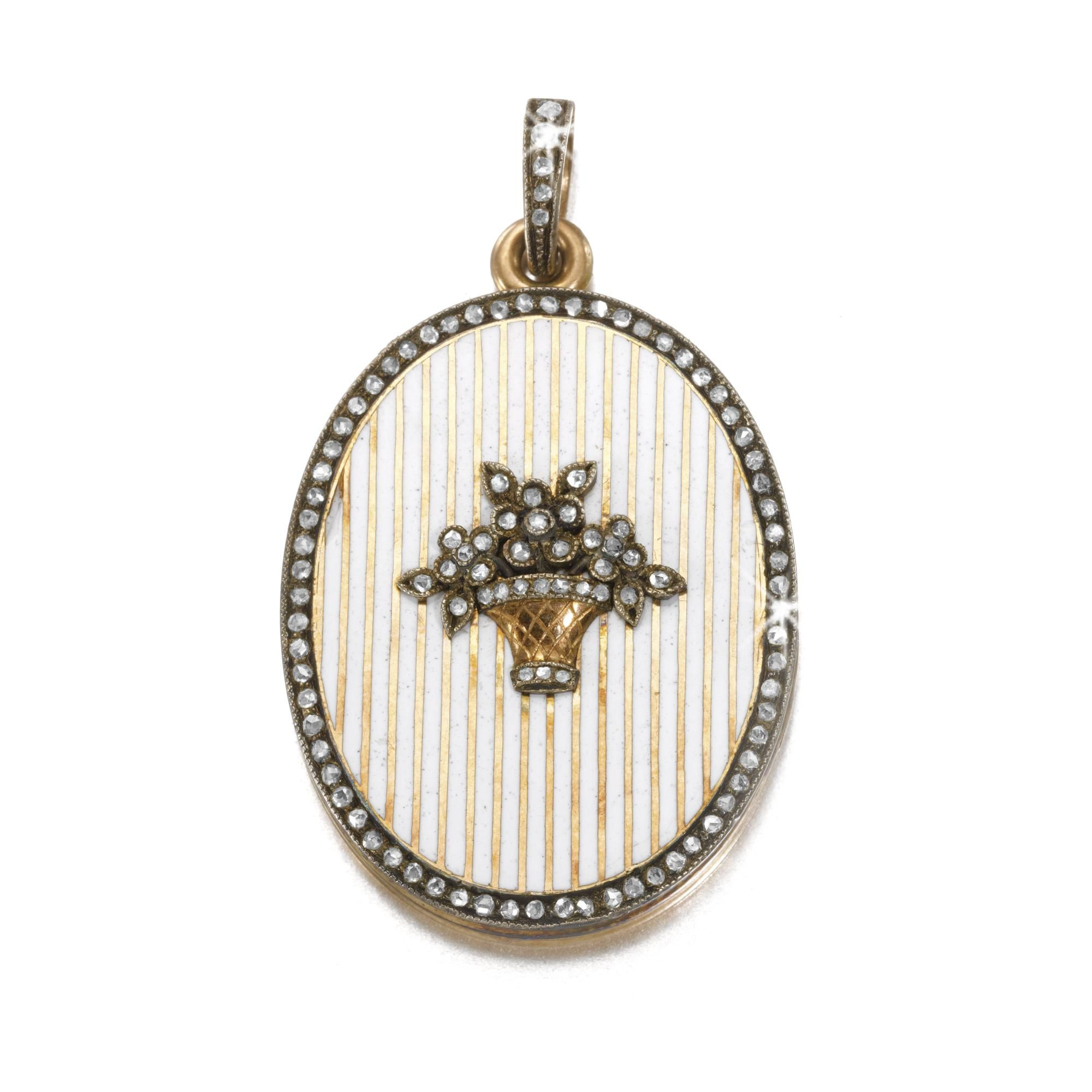 A fabergé jewelled and enamelled gold locket workmaster feodor