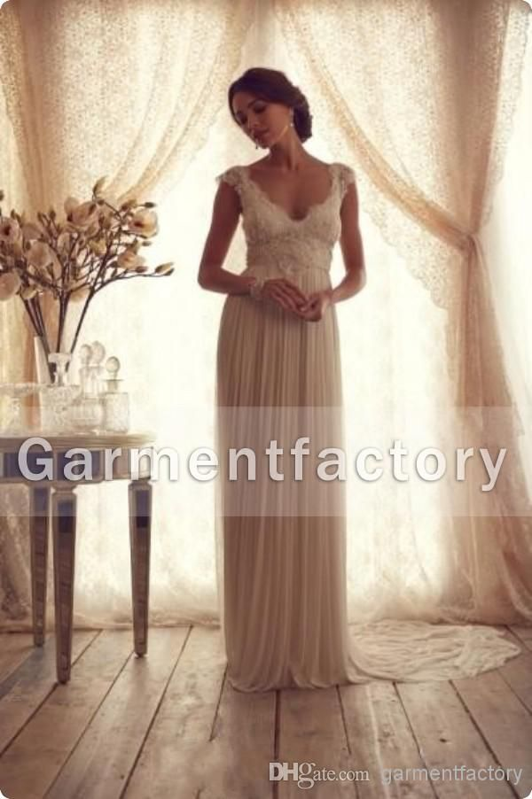 Anna Campbell Wedding Dresses 2014 Summer Elegant A Line Cap Sleeve Sweep Train Champagne Lace And Chiffon Beach Wedding Dresses With Bow Wedding Dresses With Sleeves Ball Gown Wedding Dresses From Garmentfactory, $158.8| Dhgate.Com