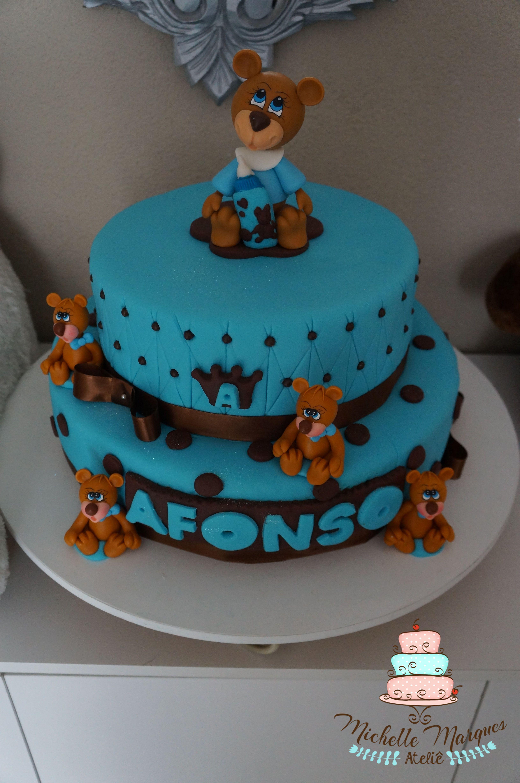 Bolo Cha De Bebe Bolo Ursinhos Cake Bear Bolo Azul E Marrom