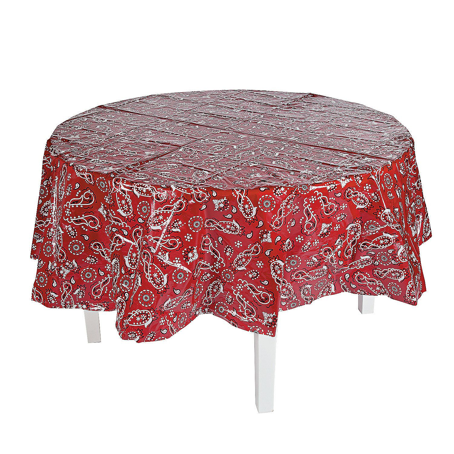 Merveilleux $3.99 Red Bandana Round Plastic Tablecloth | Cowboy Cowgirl Wester Party  Decor