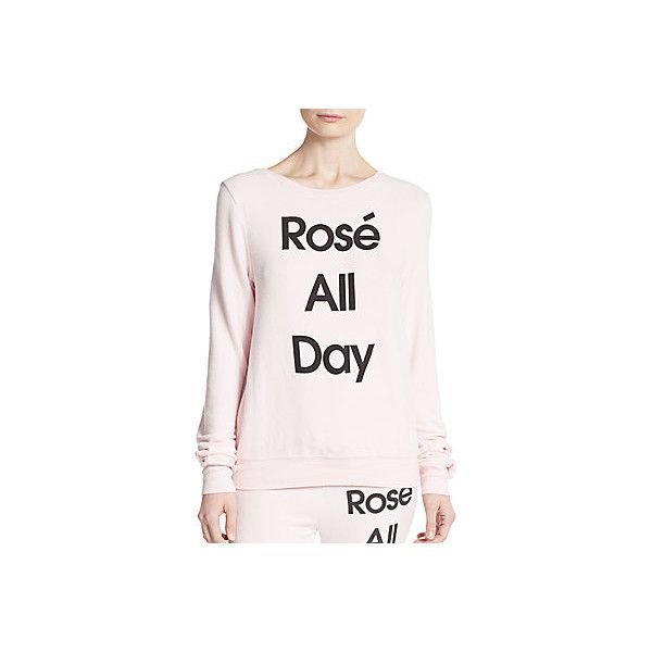 Wildfox Rose All Day Pullover ($55) ❤ liked on Polyvore featuring tops, ghost pink, pullover tops, rosette top, sweater pullover, scoopneck top and long sleeve tops