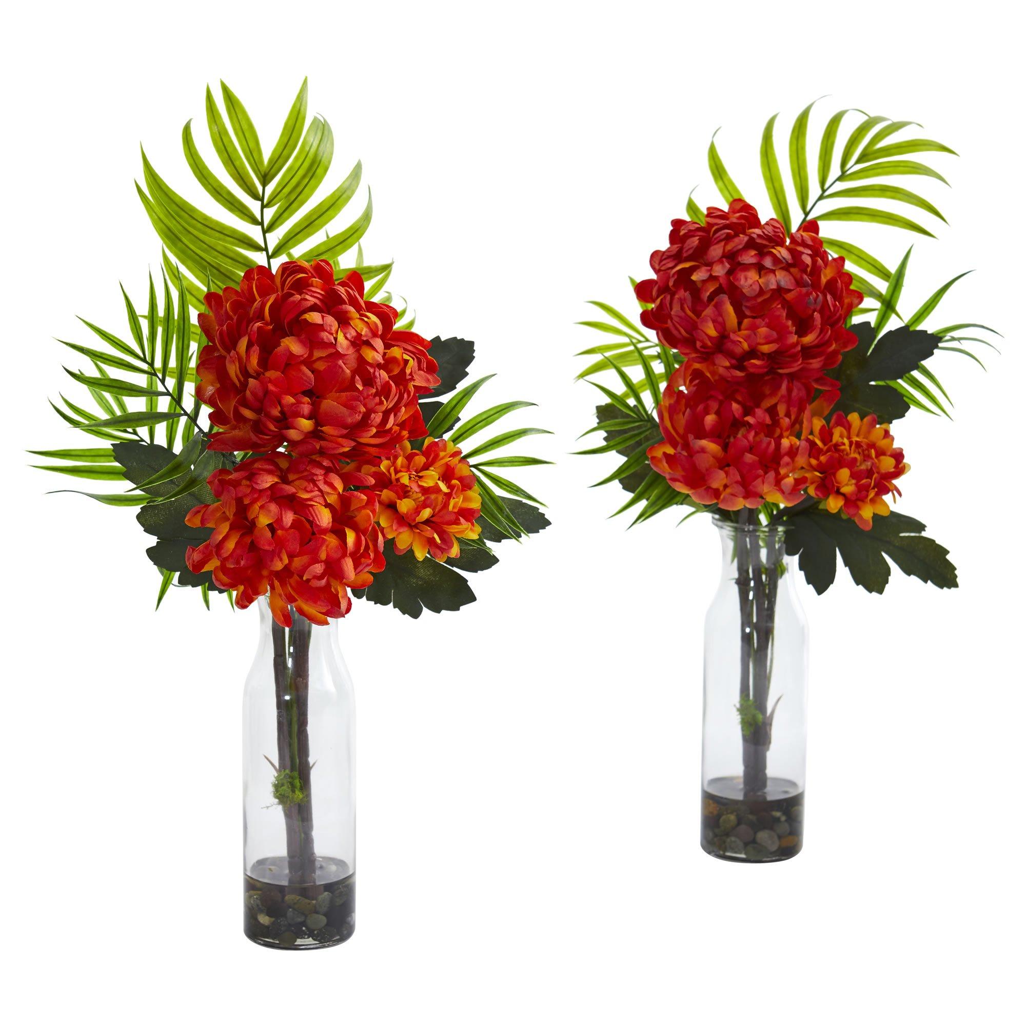 Artificial Flowers Tropical Mum Orange Arrangement Set Of 2