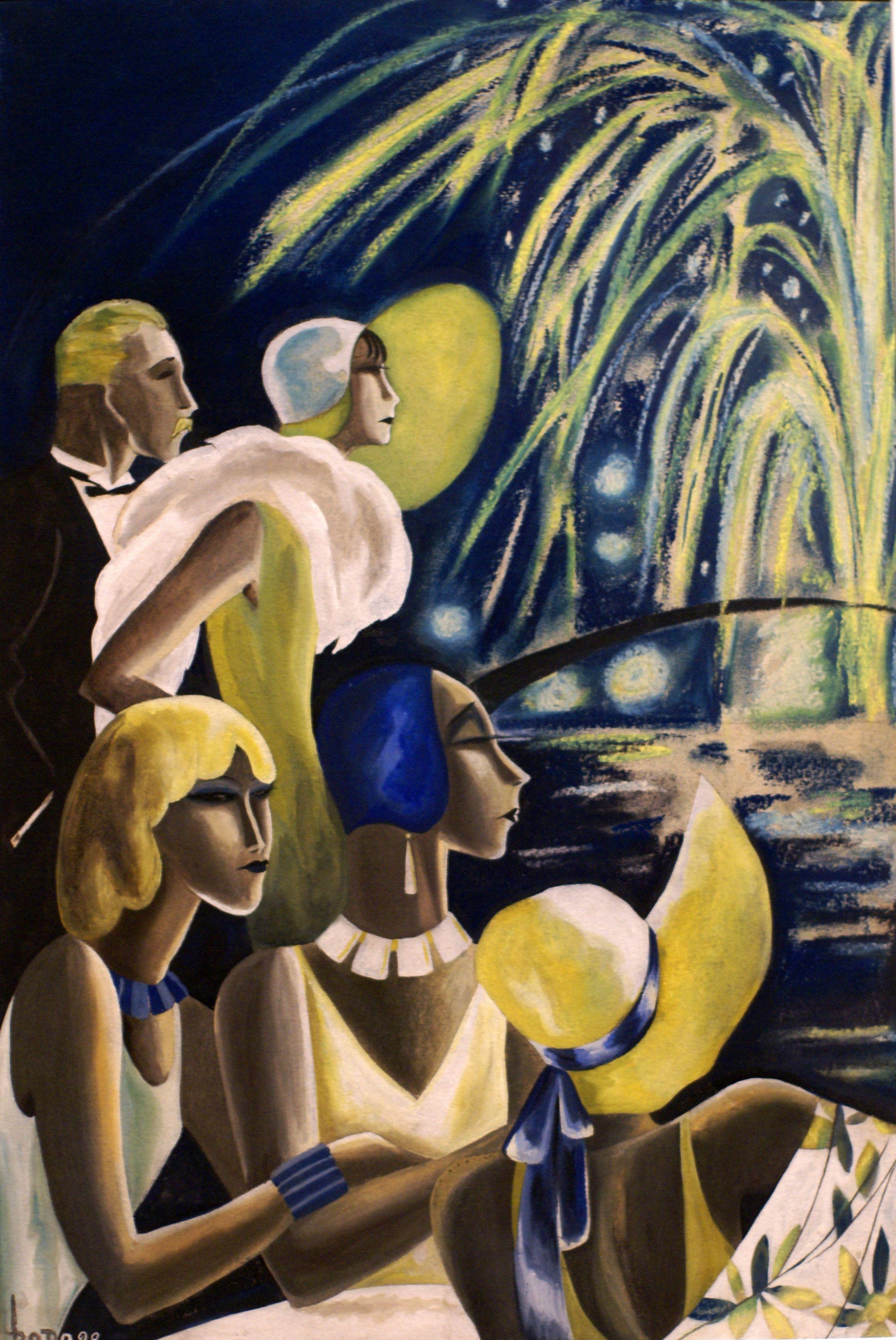 Dodo Feuerwerk Fireworks 1929 Als Dorte Clara Wolff 1907 In Berlin Geboren Art Art Deco Illustration Art Deco Posters