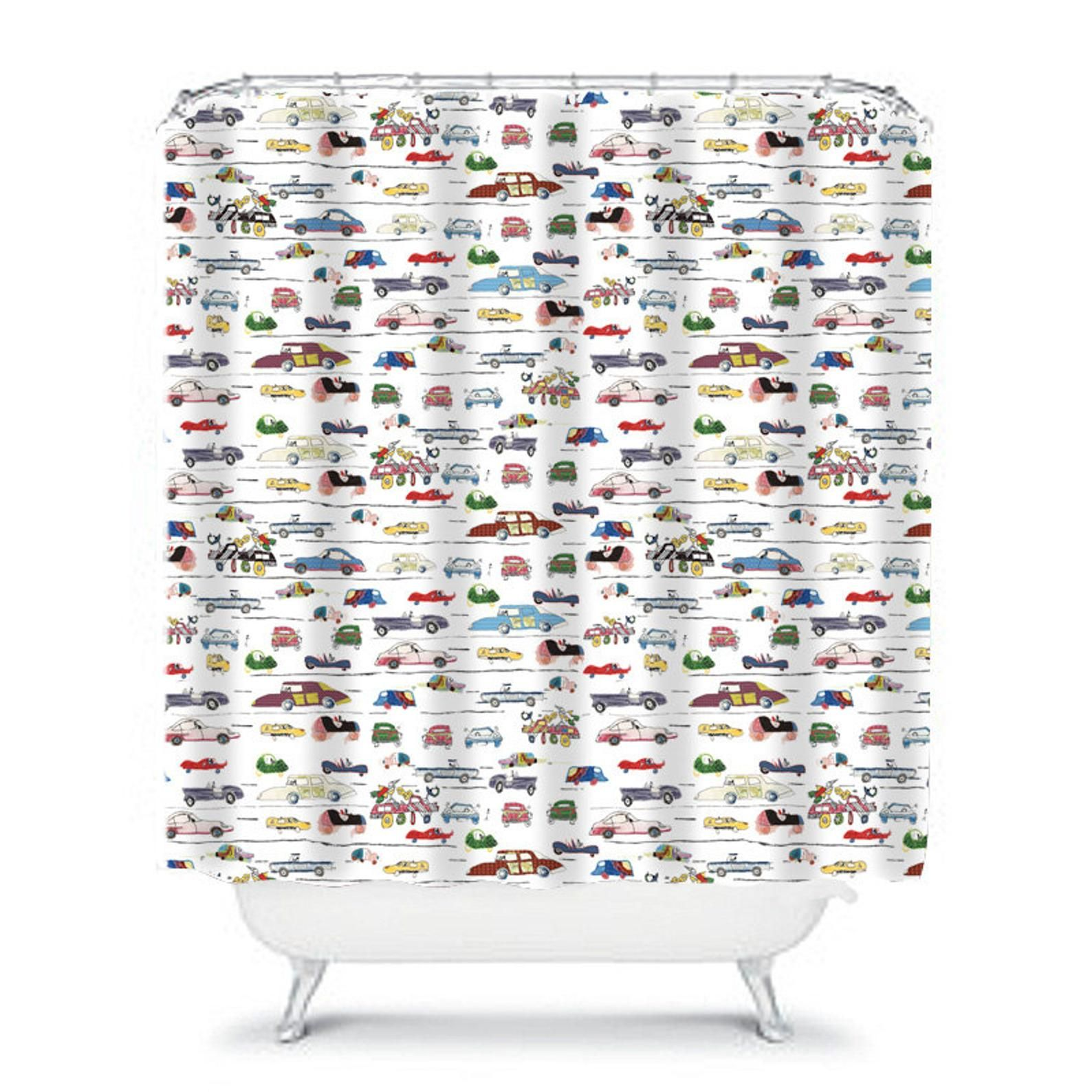 Kids Shower Curtain Toddler Boys Shower Curtain Car Decor Car