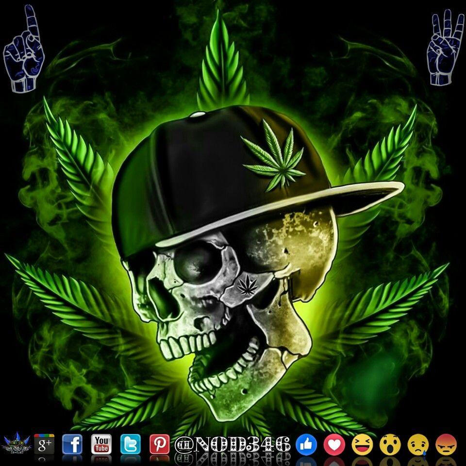 Skull Gangster Weed Cannabis Arte Cool Wallpapers Skull Art