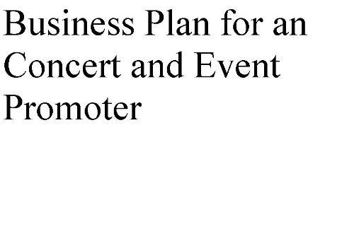 concert promotion business plan