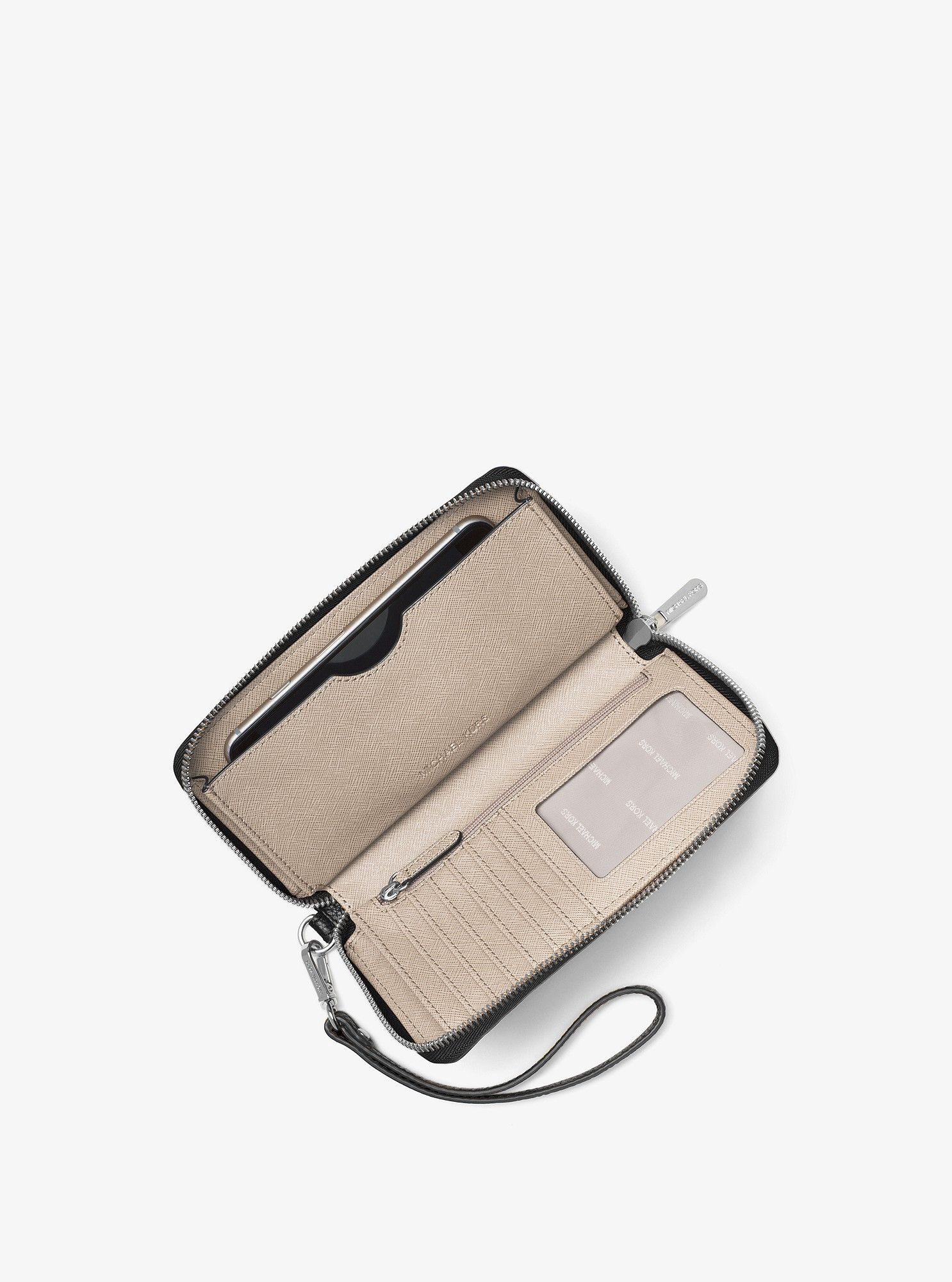 7626b2df9bfe Michael Kors Mercer Large Leather Smartphone Wristlet - Pearl Grey