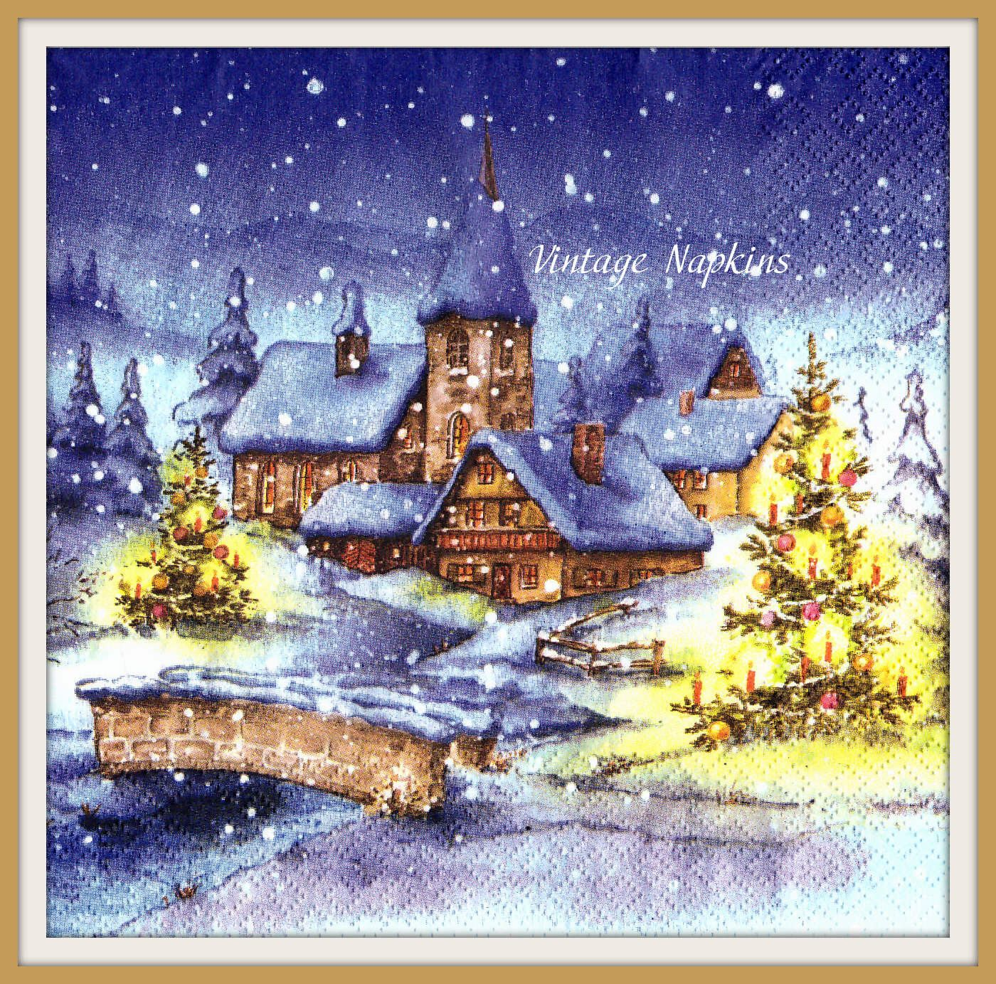 Sale two paper napkins for decoupage christmas village night