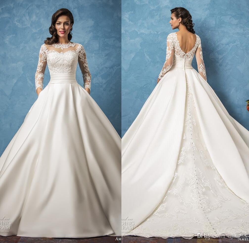 2017 New Arrival Amelia Sposa Sheer Long Sleeve Wedding Dresses ...