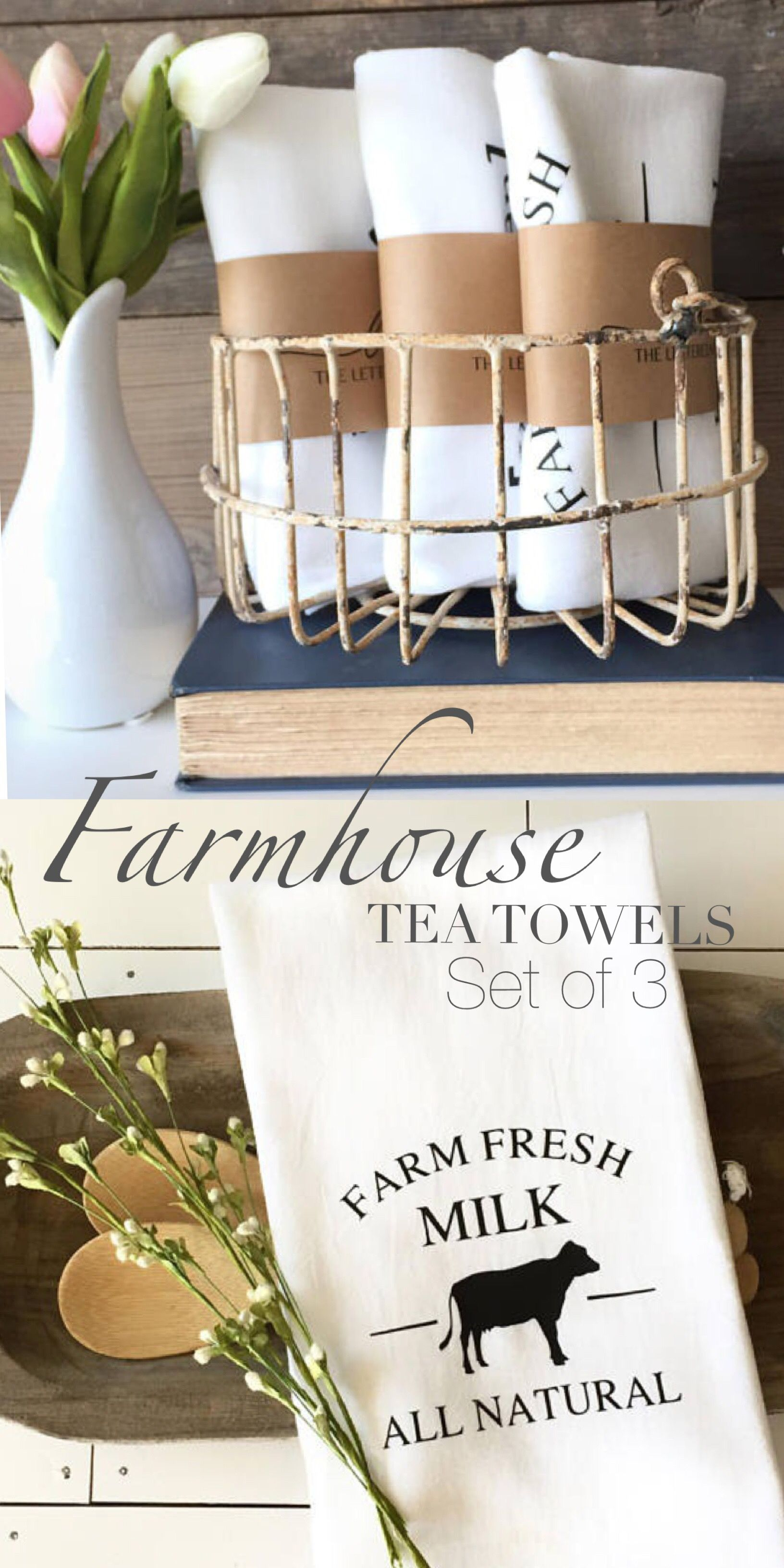 Set of 3, Farmhouse Style Kitchen Tea Towels. #ad Love these ...