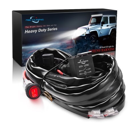 Mictuning Hd 12 Gauge 600w Led Light Bar Wiring Harness With 3 Free Fuses 60amp Relay Waterproof Switch Size 8 Inchx3 15 Inchx3 94 Inch Led Light Bars Bar Lighting Off Road Led Lights
