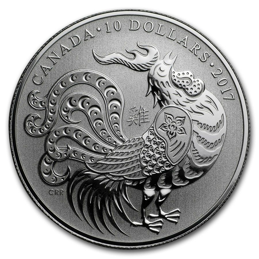 2017 1 2 Oz Silver Coin 10 Lunar Year Of The Rooster Coin Art Silver Coins Old Coins