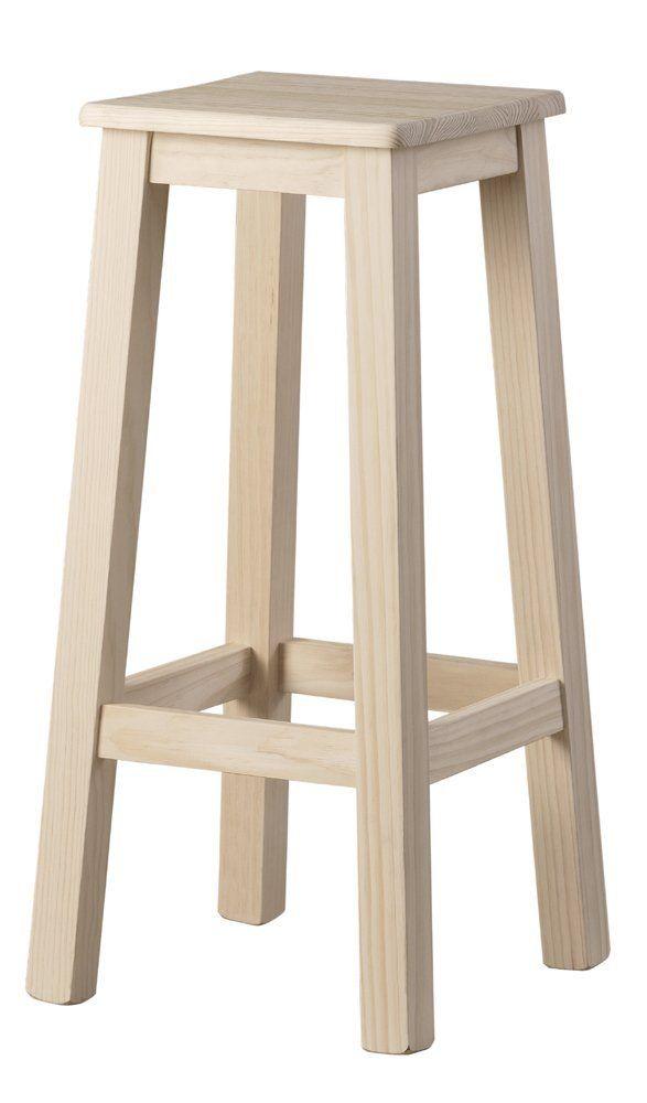 MCPGR 5978314000 - Taburete alto liso maciza, madera, 31 x 31 x 75 ...