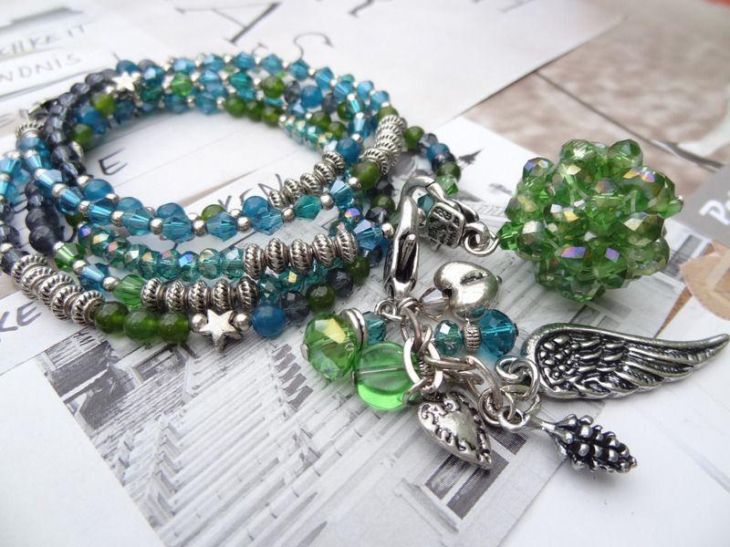 Verspielte Bettelkette *  sommerlich frisch grün von Perlenzimmer auf DaWanda.com