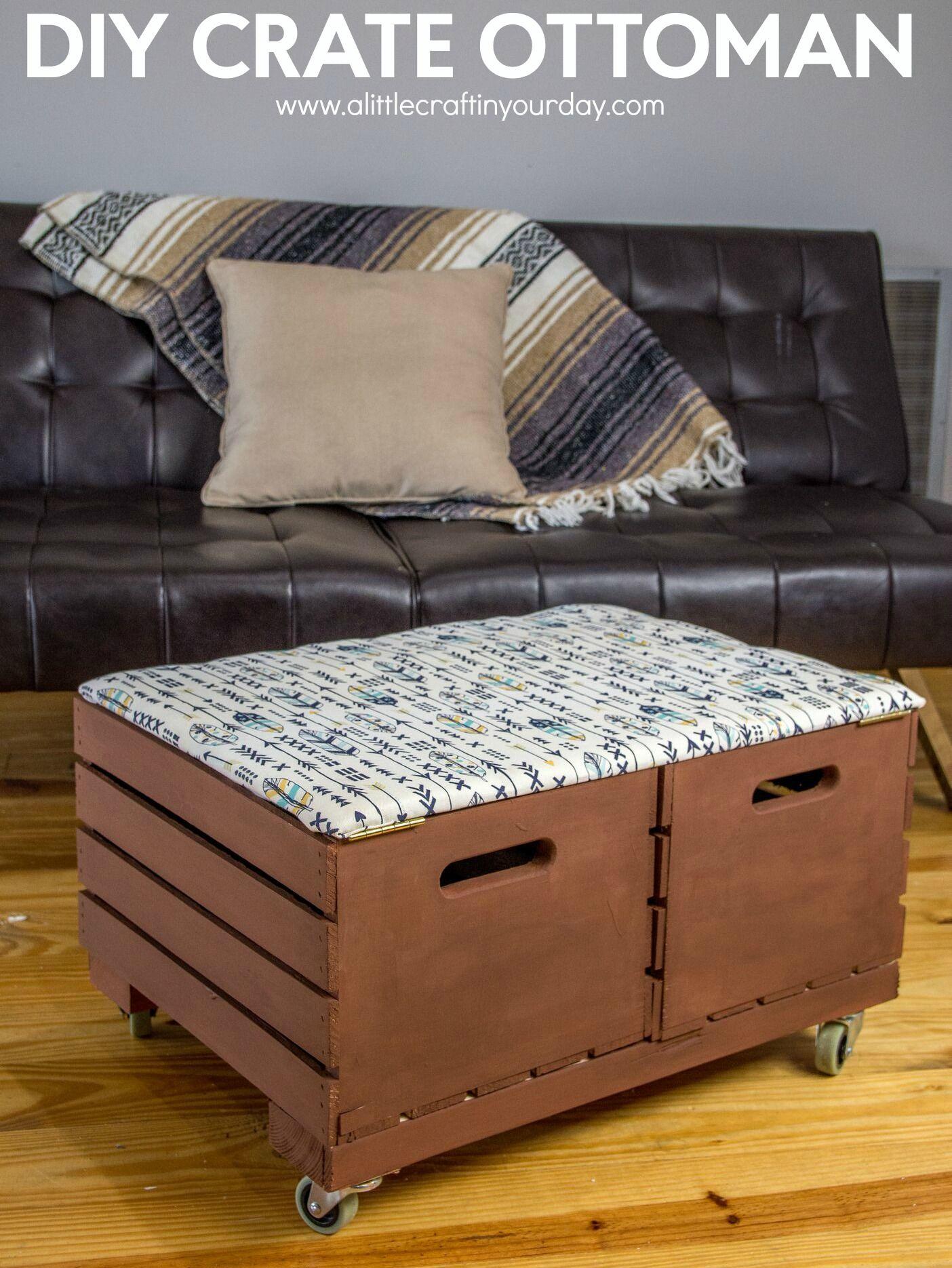 DIY Crate Ottoman A Little Craft