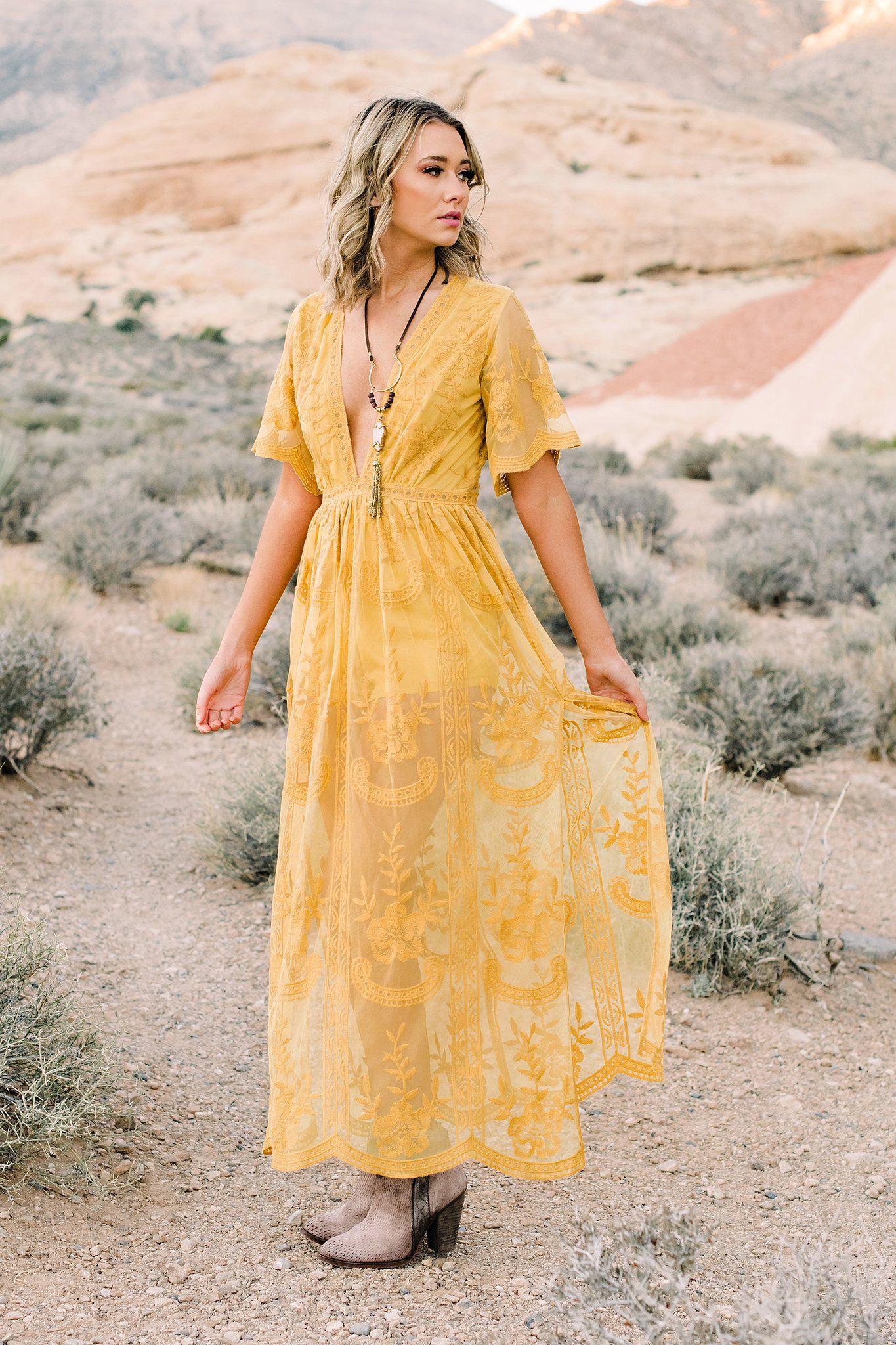 Gypsy Yellow Boho Dress