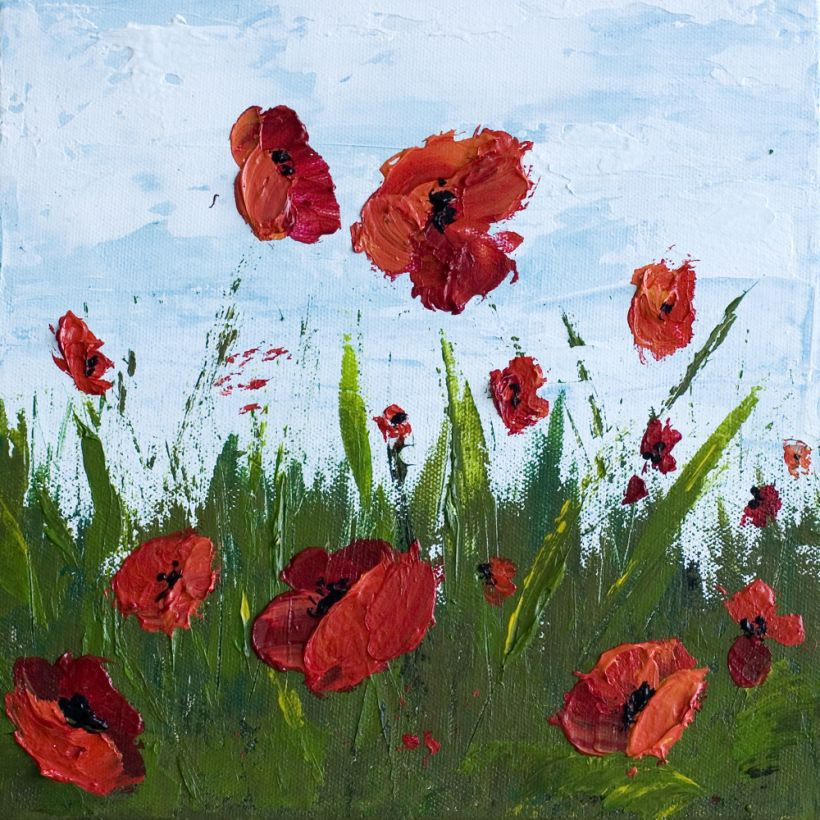 How To Paint Poppy Flowers With Acrylic Paint And A Palette Knife Simple Step By Step Tutorial Poppy Flower Painting Poppy Painting Abstract Flower Painting